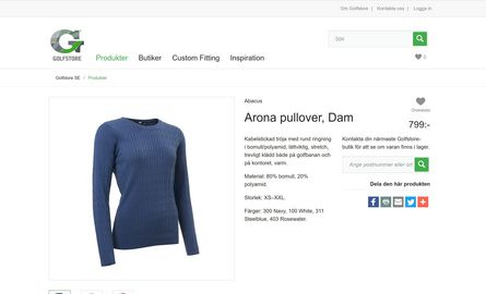 Single product, a sweater with price and zip code search.