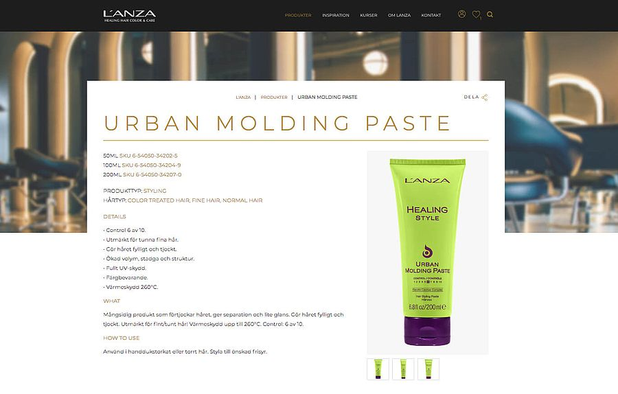 Web page showing a green tube of Urban Molding Paste.