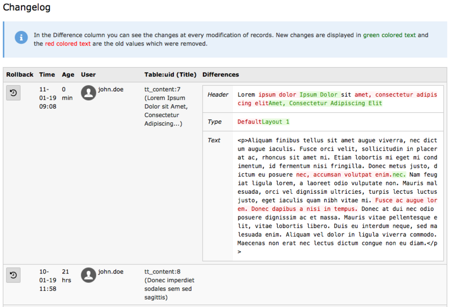 Screenshot of TYPO3's changelog with example log and text changes highlighted in red and green.