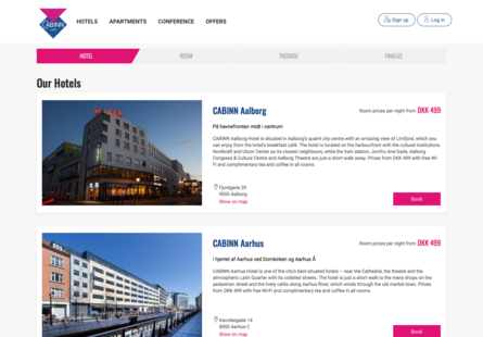 Screenshot showing hotel search results including images, descriptions, and booking buttons.