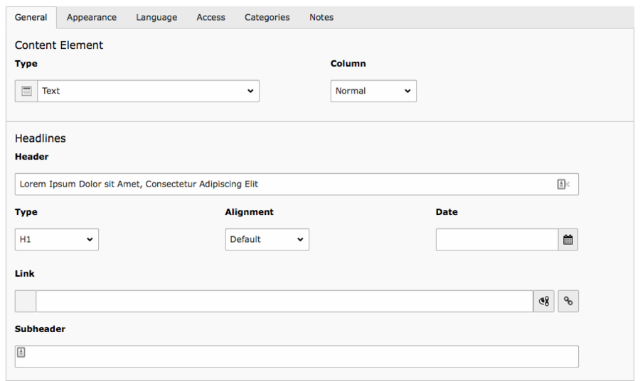 Screenshot of TYPO3 content element form with many fields visible.