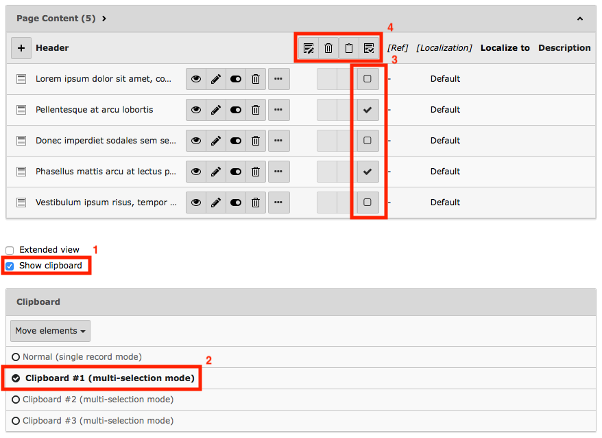 Screenshot of TYPO3's List module with checkboxes next to each content element record.